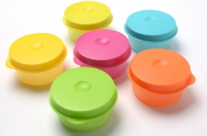 Set of colourful BPA free plastic food storage containers