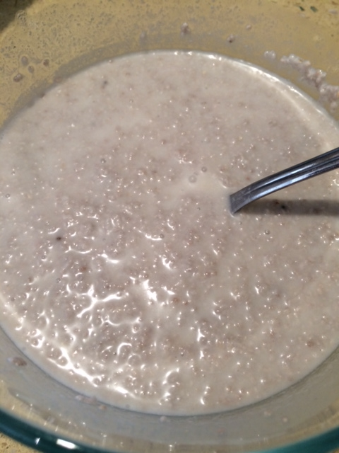 thickenend mixture of chia seeds and coconut milk